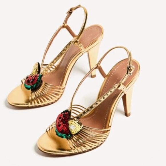c862f02fb648 Zara sequin fruit gold heels sandals 40 women s. M 5b4e056ad8a2c7838183b869